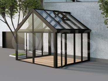 двухскатный прямоугольный зимний сад