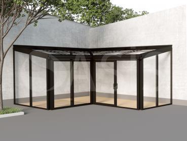 внутренний угловой зимний сад из алюминиевого профиля
